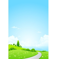 Green Landscape with Flowers Road vector image