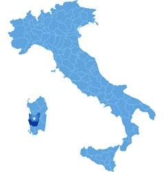 Map of Italy Medio Campidano vector image