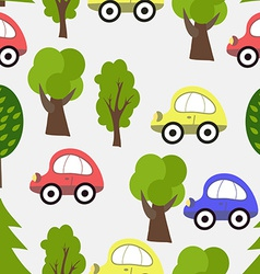 Seamless Pattern with Car and Tree Background vector image vector image