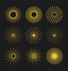 silhouette golden sunbeam icons set on black vector image