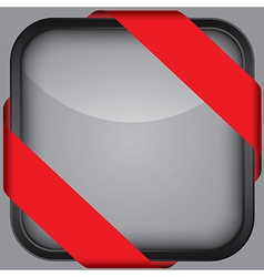 Blank black app icon with red ribbon vector image vector image