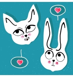 cat and rabbit with a pink heart bubble vector image
