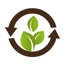 symbol with leaf in circle formed arrows vector image