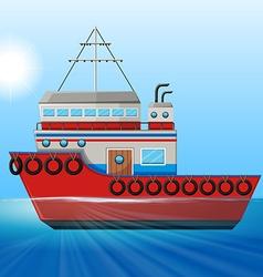 Tugboat floating in the ocean vector image
