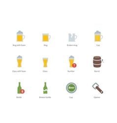 Beer and beverages color icons on white background vector image vector image