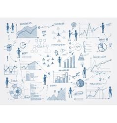 Doodle business management infographics elements vector image
