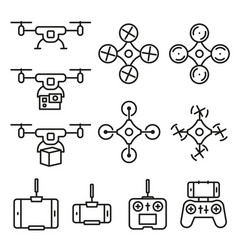 flying drone flat line style icons on white vector image