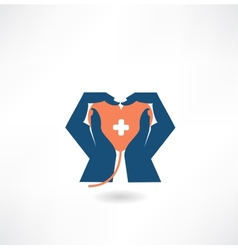 hands holding the heart donor icon vector image