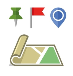 Map Icon with Different Pins Set vector image vector image