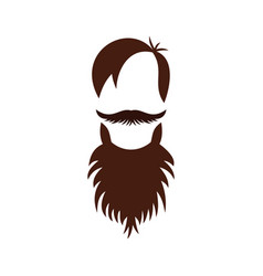 men hairstyle with beard and mustache icon vector image