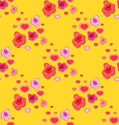 seamless pattern with roses and hearts vector image