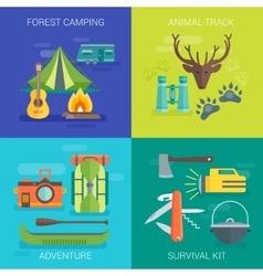 Tourist Camping Flat Compositions vector image