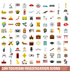 100 tourism investigation icons set flat style vector