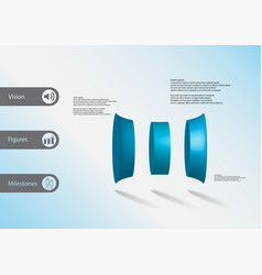 3d infographic template with three deformed vector