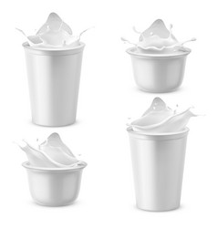 3d realistic plastic packages with yogurt vector image