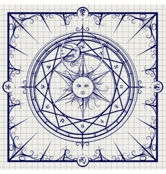 Alchemy magic circle on notebook background vector