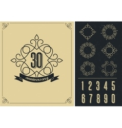 anniversary - art line background with frames vector image