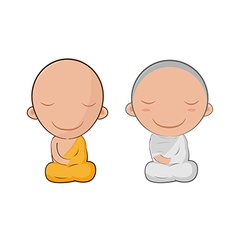 Asia Cute Monk Cartoon Symbol vector image