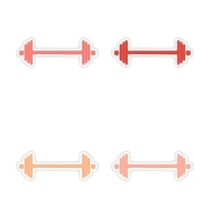 Assembly realistic sticker design on paper barbell vector