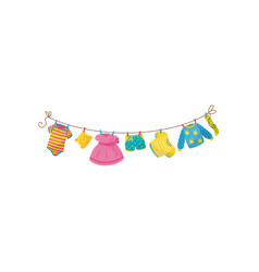 Baby clothes hanging on rope striped bodysuit vector