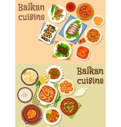 Balkan cuisine traditional dishes icon set design vector