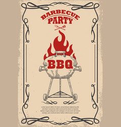 barbecue party poster template with bbq grill vector image