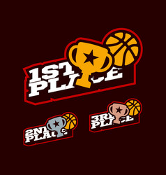 Basketball or streetball victory competition set vector