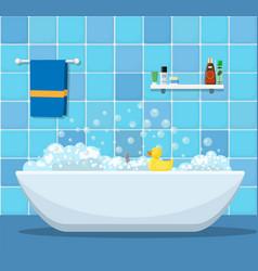 bathtub with foam bubbles vector image