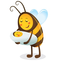Bee mother and child vector