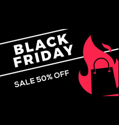black friday sale web banner flat of shopping bag vector image