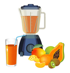 Blender and glass of smoothie made of tropical vector