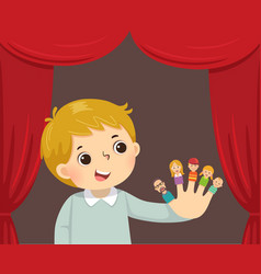 boy playing family finger puppets vector image
