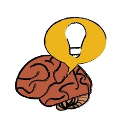 Brain thinking idea yellow bubble sketch vector