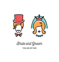 Bride groom icons wedding couple signs valentine vector
