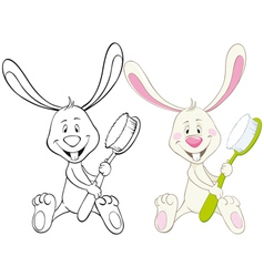 bunny with toothbrush vector image