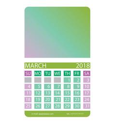 calendar grid march vector image