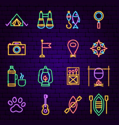 Camping neon icons vector