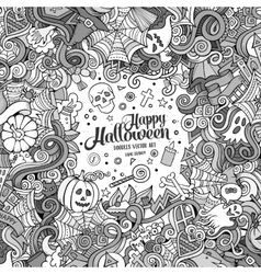 Cartoon cute doodles hand drawn Happy Halloween vector