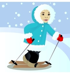 Child ski vector image