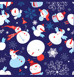 Christmas color pattern funny snowmen on a vector