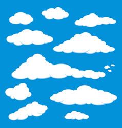 cloud blue sky a set of white cloud in a blue sky vector image