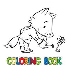 coloring book of little funny fox watering flower vector image vector image