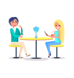 couple sitting in restaurant and drinking coffee vector image
