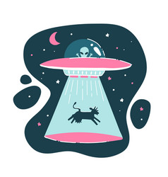cow is kidnapped a ufo funny drawing vector image
