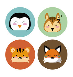 Cute animals round icons vector