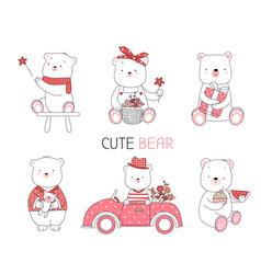 Cute baanimal with flowercar cartoon style vector