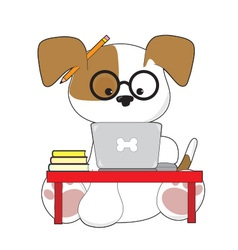 Cute Puppy and Laptop vector