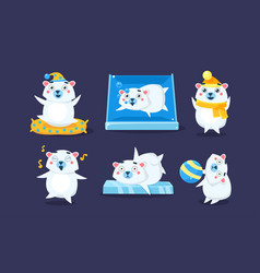 cute white guinea pig character set funny vector image