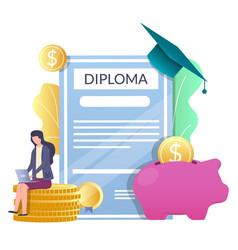 Diploma graduation hat piggy bank woman sitting vector