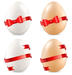 eggs with red bow vector image